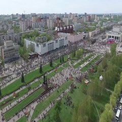 People organized around the city square in the festival. Stock Footage