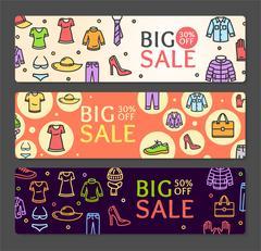 Seasonal Clothing Sale Banner Card Set. Vector Stock Illustration