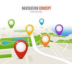 Navigation Concept Road City Map. Vector Stock Illustration