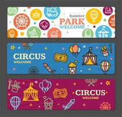 Circus Amusement Park Banner Card Tickets. Vector Piirros
