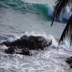Slow motion of sea waves, swashing against rock. Seascape with green sunny water Stock Footage