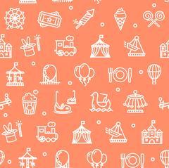 Amusement Park Background Pattern. Vector Piirros