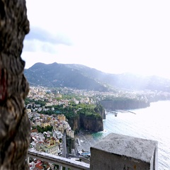 View to Sorrento coastline and Gulf of Naples Stock Footage