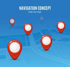Navigation Concept Road City Map. Vector Piirros