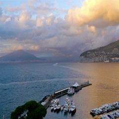 Panoramic view of Sorrento coastline, Gulf of Naples and Mount Vesuvius Stock Footage