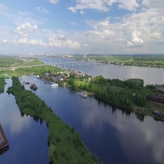 Gulf in the Kama river where there are old boats. Stock Footage
