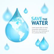 Water Globe Save Concept. Vector Stock Illustration