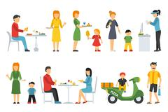 Pizza People in a interior flat icons set. Pizzeria conceptual web vector Stock Illustration