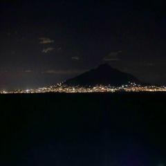 Sorrento coastline, gulf of Naples and Mount Vesuvius on the background at night Stock Footage