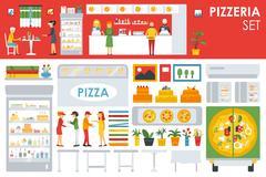 Big detailed Pizzeria Interior flat icons set. Menu, Waiter, Chairs, Deliveryman Stock Illustration