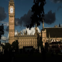 HORROR LONDON BIG BEN DRAMATIC AND SCARY DARK CLOUD Stock Footage