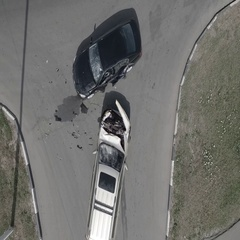 Scene of The Accident Two Cars From Top View Stock Footage