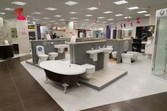 Khimki, Russia - September 03.2016. selling baths and other sanitary ware in Stock Photos