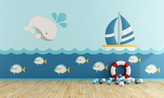 Playroom in marine style Stock Illustration