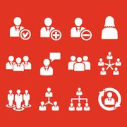 The management icon, set of 12 icons. Team and group, teamwork, people, alliance Stock Illustration