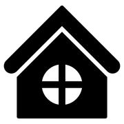 House With Round Window Flat Vector Icon Piirros