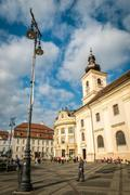 Holy Trinity Roman Catholic Church in Sibiu, Romania Stock Photos