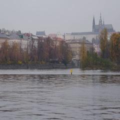 Prague Castle And Vltava River Stock Footage