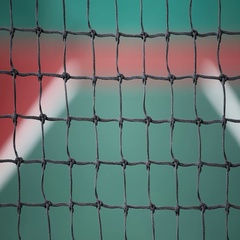 Outdoor tennis net at court Stock Footage