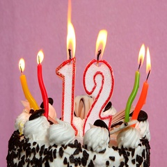 Happy 12 birthday with cake and candles Stock Footage