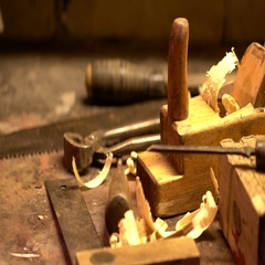 Vintage carpenter tools at workshop Stock Footage
