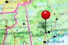 Auburn pinned on a map of Maine, USA Stock Photos
