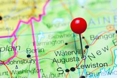 Augusta pinned on a map of Maine, USA Stock Photos
