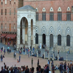 Tourists in Piazza del Campo in Siena, Tuscany, Italy Stock Footage