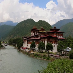 Bhutan Punakha Dzong fortress building, near a river as a beautiful sight Stock Footage