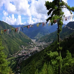 Bhutan panorama Thimphu in a valley of mountains Stock Footage