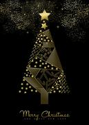 Christmas and New Year gold decoration tree Stock Illustration