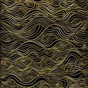 Gold wave abstract luxury seamless pattern Stock Illustration