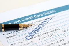 Loan form and fountain pen Stock Photos
