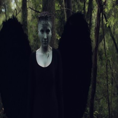 4k Halloween Dark Angel Woman with Black Wings in Forest Hands Rise up Stock Footage