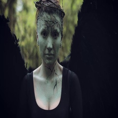 4k Halloween Dark Angel Woman with Black Wings Goes into Forest Stock Footage