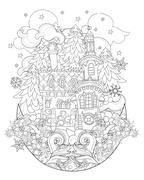 Vector cute christmas fairy tale town doodle. Stock Illustration