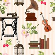 Seamless pattern with cosy vintage objects. Old sewing machine,  Stock Illustration