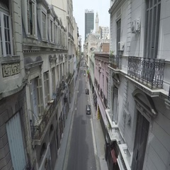 Empty narrow street in old center Buenos Aires Stock Footage
