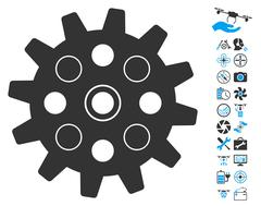 Gearwheel Icon With Copter Tools Bonus Stock Illustration