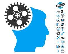 Head Gearwheel Icon With Copter Tools Bonus Stock Illustration