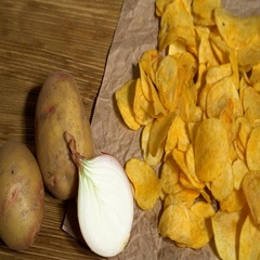 Onion potato chips dolly Stock Footage