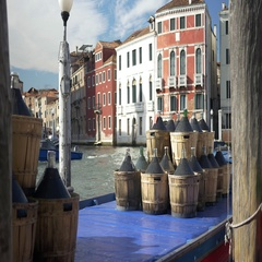 Boat Cargo of Demijohns in Venezia Stock Footage