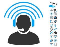 Operator Radio Signal Icon With Air Drone Tools Bonus Stock Illustration