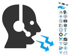 Operator Shout Icon With Copter Tools Bonus Stock Illustration