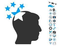 Stars Hit Head Icon With Copter Tools Bonus Stock Illustration