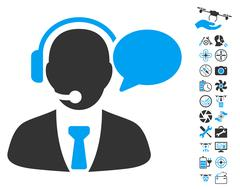 Support Manager Message Icon With Copter Tools Bonus Stock Illustration