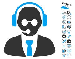 Support Manager Icon With Copter Tools Bonus Stock Illustration