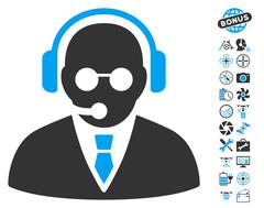 Support Manager Icon With Air Drone Tools Bonus Stock Illustration