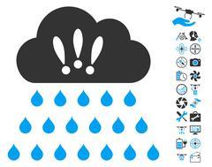 Thunderstorm Rain Cloud Icon With Air Drone Tools Bonus Stock Illustration
