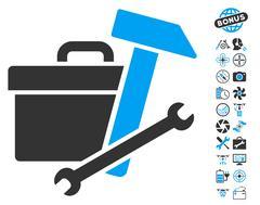 Toolbox Icon With Air Drone Tools Bonus Stock Illustration